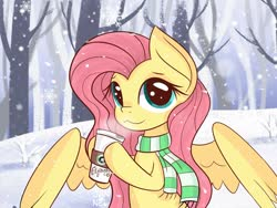 Size: 1600x1200 | Tagged: safe, artist:jannel, fluttershy, pegasus, pony, :3, catface, clothes, coffee, cute, looking at you, scarf, shyabetes, snow, solo, winter