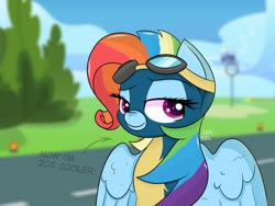 Size: 1600x1200 | Tagged: safe, artist:jannel, rainbow dash, pegasus, pony, newbie dash, 20% cooler, clothes, rainbow fash, solo, uniform, wonderbolts uniform