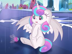 Size: 1600x1200   Tagged: safe, artist:janelearts, princess flurry heart, alicorn, parasprite, pony, crystal empire, cute, female, filly, flurrybetes, open mouth, spread wings, surprised, wings