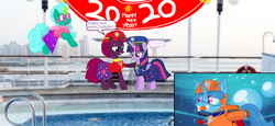 Size: 2340x1080 | Tagged: safe, artist:rainbow eevee, artist:徐詩珮, fizzlepop berrytwist, glitter drops, spring rain, tempest shadow, twilight sparkle, alicorn, unicorn, series:sprglitemplight diary, series:sprglitemplight life jacket days, series:springshadowdrops diary, series:springshadowdrops life jacket days, alternate universe, bisexual, broken horn, clothes, cute, dialogue, equestria girls outfit, female, flying, glitterbetes, glitterlight, glittershadow, happy new year, happy new year 2020, holiday, horn, lesbian, lifeguard, lifeguard spring rain, paw patrol, polyamory, shipping, snorkeling, sprglitemplight, springbetes, springdrops, springlight, springshadow, springshadowdrops, swimsuit, tempestbetes, tempestlight, twilight sparkle (alicorn)