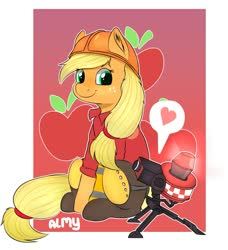 Size: 1094x1200 | Tagged: safe, artist:almond evergrow, applejack, earth pony, pony, apple, applejack tf2, cutie mark background, engiejack, engineer, female, food, hard hat, heart, mare, meme, mini sentry, parody, sentry, sentry gun, team fortress 2, team fortress applejack, what in tarnation