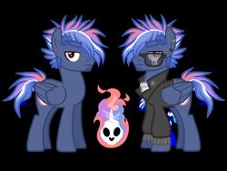 Size: 4500x3375 | Tagged: safe, artist:avatarmicheru, oc, oc only, oc:inferno rush, pegasus, pony, clothes, jacket, male, offspring, parent:rainbow dash, parent:soarin', parents:soarindash, simple background, solo, stallion, sunglasses, transparent background