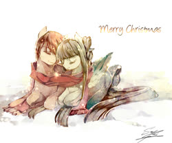 Size: 800x666 | Tagged: safe, artist:soukitsubasa, oc, oc only, clothes, couple, cute, eyes closed, scarf