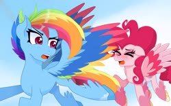 Size: 4320x2700 | Tagged: safe, pinkie pie, rainbow dash, pegasus, pony, leak, spoiler:g5, cloud, colored wings, female, flying, g5, mare, multicolored wings, pegasus pinkie pie, pinkie pie (g5), race swap, rainbow dash (g5), rainbow wings, redesign, sky, sweat, tired, wings