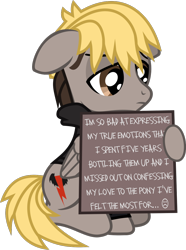Size: 663x888 | Tagged: safe, artist:lightningbolt, derpibooru exclusive, pegasus, pony, .svg available, clothes, dyed mane, dyed tail, folded wings, frown, hood, hoodie, hoof hold, implied shipping, lidded eyes, male, mikey way, my chemical romance, ponified, pony shaming, sign, simple background, sitting, solo, stallion, svg, transparent background, vector, wings, wristband