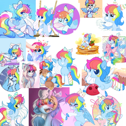 Size: 768x768 | Tagged: safe, artist:lazuli, artist:rioshi, artist:starshade, oc, oc:rainbow dreams, pegasus, adoptable, adorable face, bow, clothes, commission, cute, female, food, for sale, pancakes, plushie, socks, spoon, strawberry, striped socks, swing, syrup, wing hands, wings, your character here