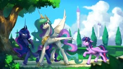 Size: 1920x1080 | Tagged: safe, artist:anticular, princess celestia, princess luna, twilight sparkle, alicorn, pony, canterlot, cloud, dappled sunlight, female, mare, missing cutie mark, park, peytral, raised hoof, raised leg, royal sisters, sky, smiling, tree, trio, twilight sparkle (alicorn), unshorn fetlocks, walking