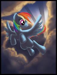 Size: 2142x2801 | Tagged: safe, artist:semajz, rainbow dash, pegasus, pony, cloud, female, flying, mare, sky, wings