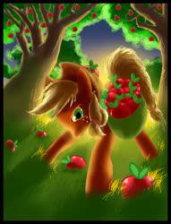 Size: 2142x2801 | Tagged: safe, artist:semajz, applejack, earth pony, pony, apple, apple tree, bag, food, grass, saddle bag, tree