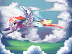 Size: 2828x2121 | Tagged: safe, artist:venomous-smile, rainbow dash, pegasus, pony, cloud, female, flying, mare, sky, wings