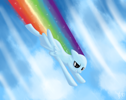 Size: 1280x1024 | Tagged: safe, artist:antharesmk, rainbow dash, pegasus, pony, cloud, fast, female, flying, mare, sky, speed lines, wings