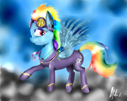 Size: 2500x2000 | Tagged: safe, artist:lrivalzl, rainbow dash, pegasus, pony, cloud, female, jewelry, mare, necklace, on a cloud, raised hoof, shadowbolt dash, shadowbolts, sky, standing on cloud, wings