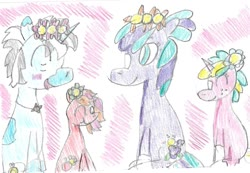 Size: 1481x1026 | Tagged: safe, artist:ptitemouette, oc, oc only, oc:maestro doremi, oc:pomme rouge, oc:rose quartz, oc:violet soprano, brother and sister, female, flower, grandfather and grandchild, male, mother and child, mother and daughter, mother and son, offspring, offspring's offspring, parent:frederic horseshoepin, parent:neon lights, parent:oc:maestro doremi, parent:oc:pink lady, parent:oc:sunny jewel, parent:oc:violet soprano, parents:fredlights, parents:oc x oc, siblings, traditional art, vitiligo