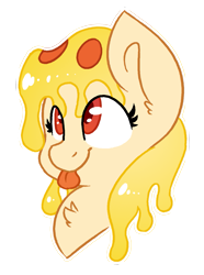 Size: 1073x1445 | Tagged: safe, artist:northwindsmlp, oc, oc:mozzarella orgy, food pony, original species, pizza pony, pony, bust, female, mare, pizza, portrait, simple background, solo, tongue out, transparent background