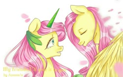 Size: 1068x668 | Tagged: artist needed, source needed, safe, fluttershy, pegasus, pony, unicorn, leak, spoiler:g5, fluttershy (g5), g4, g4 to g5, g5, redesign, teary eyes, unicorn fluttershy