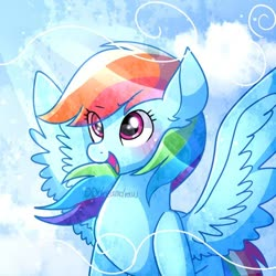 Size: 600x600 | Tagged: safe, artist:dddreamdraw, rainbow dash, pegasus, pony, blushing, cute, dashabetes, excited, female, happy, mare, spread wings, windswept mane, wings