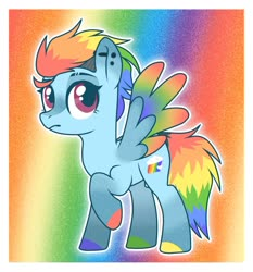 Size: 1280x1375 | Tagged: safe, artist:cupidity4200, rainbow dash, pegasus, pony, alternate design, colored hooves, colored wings, female, hooves, mare, multicolored wings, rainbow wings, raised hoof, redesign, wings