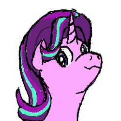 Size: 271x270 | Tagged: safe, artist:brightstarclick, starlight glimmer, pony, unicorn, :3, bust, female, looking at you, looking down at you, mare, simple background, smug, smuglight glimmer, solo, white background