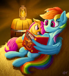 Size: 1241x1354 | Tagged: safe, artist:gouransion, rainbow dash, scootaloo, pegasus, pony, barrel, cuddling, cute, daring do book, duo, duo female, female, hay, lantern, lying down, night, on back, reading, scootalove, stars, wing hold