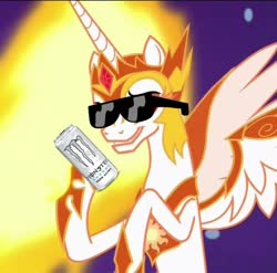 Size: 676x667 | Tagged: safe, edit, edited screencap, screencap, daybreaker, a royal problem, /mlp/, cropped, monster drink, solo, sunglasses