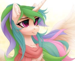 Size: 1280x1032 | Tagged: safe, artist:vird-gi, princess celestia, alicorn, pony, alternate hairstyle, cheek fluff, chest fluff, clothes, cute, cutelestia, ear fluff, ponytail, scarf, simple background, smiling, solo, spread wings, white background, wings