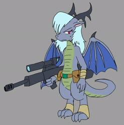 Size: 2024x2048 | Tagged: safe, artist:omegapony16, oc, oc only, oc:oriponi, anthro, digitigrade anthro, dragon, dragon oc, dragoness, female, gray background, gun, rifle, simple background, solo, weapon