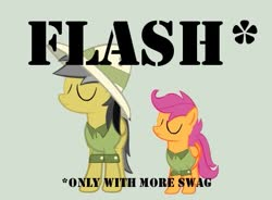 Size: 497x366 | Tagged: artist needed, safe, daring do, scootaloo, eyes closed