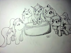 Size: 816x612 | Tagged: safe, artist:lucas_gaxiola, oc, alicorn, alicorn oc, birthday cake, cake, female, food, grin, mare, monochrome, signature, smiling, traditional art