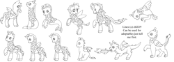 Size: 4389x1558   Tagged: safe, artist:chili19, oc, oc only, dragon, earth pony, giraffe, griffon, hybrid, original species, pegasus, pony, sea pony, unicorn, fire, girafficorn, lineart, monochrome