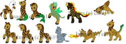 Size: 4389x1558   Tagged: safe, alternate version, artist:chili19, oc, oc only, dragon, earth pony, giraffe, griffon, hybrid, original species, pegasus, pony, sea pony, unicorn, colored, fire, girafficorn, obtrusive watermark, watermark, when watermarks attack