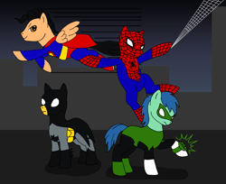 Size: 1703x1391 | Tagged: safe, artist:chili19, earth pony, pegasus, pony, batman, cape, clothes, costume, crossover, flying, green lantern, male, mask, ponified, spider-man, stallion, superman, swinging