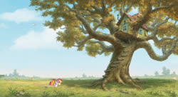Size: 1600x868 | Tagged: artist needed, source needed, safe, apple bloom, applejack, fluttershy, rainbow dash, scootaloo, sweetie belle, apple, apple tree, cutie mark crusaders, flying, house, hundred acre wood, outdoors, scenery, scenery porn, tree, treehouse, winnie the pooh