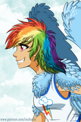 Size: 1181x1772 | Tagged: safe, artist:inuhoshi-to-darkpen, rainbow dash, human, chest feathers, clothes, female, fluffy, grin, humanized, shoulder feathers, smiling, solo, tanktop, winged humanization, wings