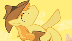 Size: 1280x720 | Tagged: safe, screencap, braeburn, earth pony, pony, over a barrel, rearing, solo