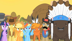 Size: 1280x720 | Tagged: safe, screencap, applejack, braeburn, little strongheart, rainbow dash, sheriff silverstar, twilight sparkle, buffalo, over a barrel