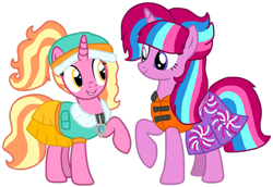 Size: 1393x957 | Tagged: safe, artist:徐詩珮, luster dawn, oc, oc:bubble sparkle, alicorn, unicorn, series:sprglitemplight diary, series:sprglitemplight life jacket days, series:springshadowdrops diary, series:springshadowdrops life jacket days, alicorn oc, alternate universe, base used, bubbledawn, canon x oc, clothes, cute, female, lesbian, lifejacket, magical lesbian spawn, multiple parents, next generation, offspring, offspring shipping, parent:glitter drops, parent:spring rain, parent:tempest shadow, parent:twilight sparkle, parents:glittershadow, parents:sprglitemplight, parents:springdrops, parents:springshadow, parents:springshadowdrops, paw patrol, shipping, simple background, swimsuit, transparent background, vector