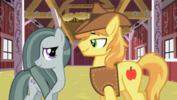 Size: 2064x1174 | Tagged: safe, edit, braeburn, marble pie, braebetes, braeble, crack shipping, cropped, cute, female, male, marblebetes, shipping, straight