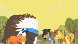 Size: 1280x720 | Tagged: safe, screencap, braeburn, chief thunderhooves, little strongheart, sheriff silverstar, over a barrel, apple, apple tree, tree