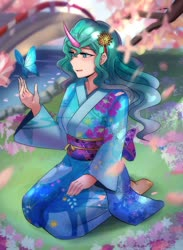Size: 800x1091 | Tagged: safe, artist:tzc, mistmane, butterfly, human, anime, barefoot, bridge, cherry blossoms, commission, feet, female, flower, flower blossom, flower in hair, horn, horned humanization, humanized, kneeling, river, sitting, solo, younger, yukata