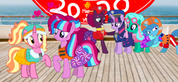 Size: 2340x1080 | Tagged: safe, artist:徐詩珮, fizzlepop berrytwist, glitter drops, luster dawn, spring rain, tempest shadow, twilight sparkle, oc, oc:bubble sparkle, alicorn, unicorn, series:sprglitemplight diary, series:sprglitemplight life jacket days, series:springshadowdrops diary, series:springshadowdrops life jacket days, alicorn oc, alternate universe, base used, bisexual, broken horn, bubbledawn, canon x oc, clothes, cute, equestria girls outfit, female, glitterbetes, glitterlight, glittershadow, happy new year, happy new year 2020, heart, holiday, horn, lesbian, lifeguard, lifeguard spring rain, lifejacket, magical lesbian spawn, multiple parents, next generation, offspring, offspring shipping, parent:glitter drops, parent:spring rain, parent:tempest shadow, parent:twilight sparkle, parents:glittershadow, parents:sprglitemplight, parents:springdrops, parents:springshadow, parents:springshadowdrops, paw patrol, polyamory, shipping, sprglitemplight, springbetes, springdrops, springlight, springshadow, springshadowdrops, swimsuit, tempestbetes, tempestlight, twilight sparkle (alicorn)