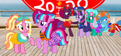 Size: 2340x1080 | Tagged: safe, artist:徐詩珮, fizzlepop berrytwist, glitter drops, luster dawn, spring rain, tempest shadow, twilight sparkle, oc, oc:bubble sparkle, alicorn, unicorn, series:sprglitemplight diary, series:sprglitemplight life jacket days, series:springshadowdrops diary, series:springshadowdrops life jacket days, alicorn oc, alternate universe, base used, bisexual, broken horn, bubbledawn, canon x oc, clothes, cute, equestria girls outfit, female, glitterbetes, glitterlight, glittershadow, happy new year, happy new year 2020, holiday, horn, lesbian, lifeguard, lifeguard spring rain, lifejacket, magical lesbian spawn, multiple parents, next generation, offspring, offspring shipping, parent:glitter drops, parent:spring rain, parent:tempest shadow, parent:twilight sparkle, parents:glittershadow, parents:sprglitemplight, parents:springdrops, parents:springshadow, parents:springshadowdrops, paw patrol, polyamory, shipping, sprglitemplight, springbetes, springdrops, springlight, springshadow, springshadowdrops, swimsuit, tempestbetes, tempestlight, twilight sparkle (alicorn)