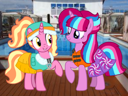 Size: 1440x1080 | Tagged: safe, artist:徐詩珮, luster dawn, oc, oc:bubble sparkle, alicorn, unicorn, series:sprglitemplight diary, series:sprglitemplight life jacket days, series:springshadowdrops diary, series:springshadowdrops life jacket days, alicorn oc, alternate universe, base used, bubbledawn, canon x oc, clothes, cute, female, lesbian, lifejacket, magical lesbian spawn, multiple parents, next generation, offspring, offspring shipping, parent:glitter drops, parent:spring rain, parent:tempest shadow, parent:twilight sparkle, parents:glittershadow, parents:sprglitemplight, parents:springdrops, parents:springshadow, parents:springshadowdrops, paw patrol, shipping, swimsuit