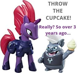 Size: 425x403 | Tagged: safe, grubber, tempest shadow, earth pony, hedgehog, pony, my little pony: the movie, asdfmovie, cupcake, food, meme, throw the cheese, toy