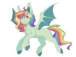 Size: 1200x899   Tagged: safe, artist:p-kicreations, oc, oc only, oc:sugarfang, bat pony, pony, icey-verse, blank flank, chest fluff, commission, female, magical lesbian spawn, mare, multicolored hair, offspring, parent:evil pie hater dash, parent:flutterbat, parent:fluttershy, parent:rainbow dash, parents:flutterdash, parents:piehaterbat, rainbow hair, simple background, solo, transparent background, unshorn fetlocks