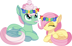 Size: 8954x5660 | Tagged: safe, artist:cyanlightning, fluttershy, gentle breeze, pegasus, pony, .svg available, absurd resolution, blank flank, cute, duo, ear fluff, eyes closed, facial hair, father and child, father and daughter, female, filly, floral head wreath, flower, male, moustache, shyabetes, simple background, sitting, smiling, stallion, transparent background, vector, younger