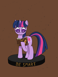 Size: 1200x1600 | Tagged: safe, artist:toshimatsu, derpibooru exclusive, twilight sparkle, pony, unicorn, fallout equestria, female, figurine, hooves, mare, ministry mares, ministry mares statuette, raised hoof, simple background, solo