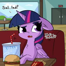 Size: 1080x1080 | Tagged: safe, artist:tjpones, twilight sparkle, alicorn, pony, bossy boots, burger, carnivore, drink, floppy ears, food, french fries, meat, ponies eating meat, raised eyebrow, soda, solo, spongebob squarepants, this will end in weight gain, twilight burgkle, twilight sparkle (alicorn)