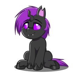 Size: 4093x4093 | Tagged: safe, artist:jcosneverexisted, oc, oc only, oc:tlas ii, changeling, hybrid, pony, my little pony: pony life, fangs, looking at you, male, sitting, solo, unshorn fetlocks