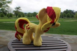 Size: 960x640 | Tagged: safe, artist:emberfallplush, sunset shimmer, pony, unicorn, irl, photo, plushie