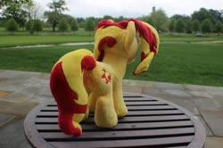 Size: 960x640 | Tagged: safe, artist:emberfallplush, sunset shimmer, pony, unicorn, butt, irl, photo, plot, plushie